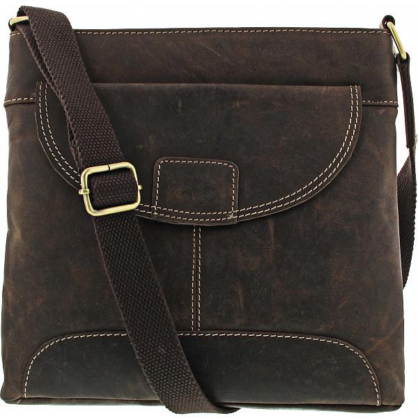 HGL Lederwaren Damen Umhängetasche Handtasche brown